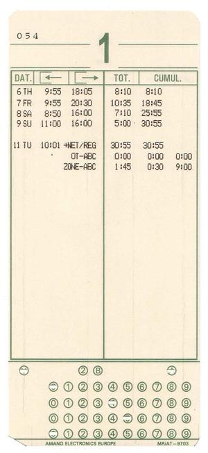 Tidkort för MJR