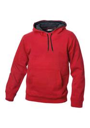 Röd Hood med grå kontrast i luva och snoddar Unisex M