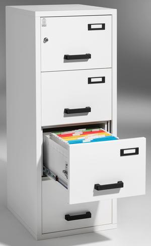 Brandklassat arkivskåp, 4 lådor